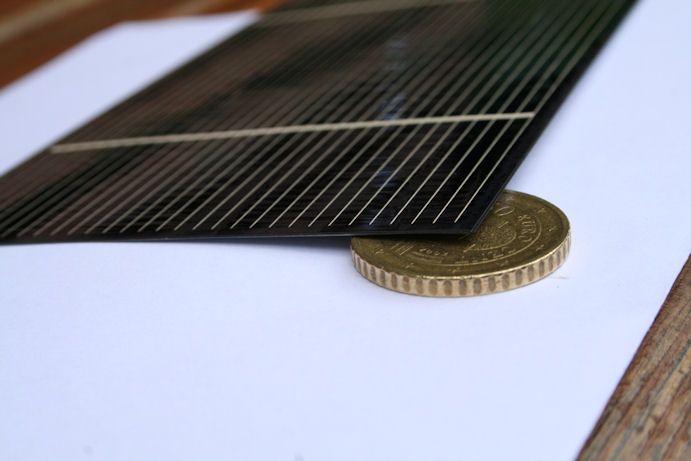 Solar cell on top of 50 eurocents